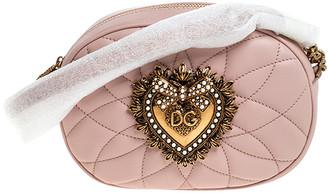 Dolce & Gabbana Blush Pink Matelasse Leather Devotion Camera Crossbody Bag