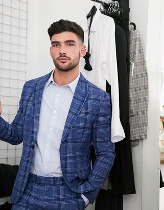 Topman skinny fit checked suit jacket in blue