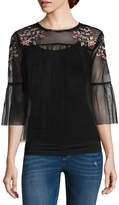 Arizona Sheer Embroidered Top- Juniors