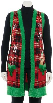 Plus Size US Sweaters Open-Front Long Christmas Vest