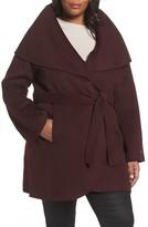 Tahari Plus Size Women's Maria Double Face Wool Blend Wrap Coat