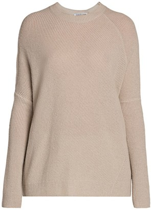 Agnona Cashmere Pearl Ribbed Knit Sweater
