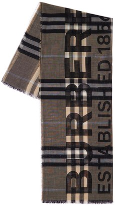 Burberry Wool & Silk Checked & Logo Scarf