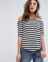 Daisy Street Striped Cold Shoulder Top