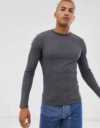Asos Design DESIGN muscle fit long sleeve t-shirt in rib in washed black-Grey