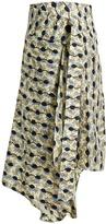 Marni Garland-print asymmetric jacquard-silk skirt