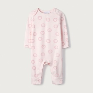 The White Company Organic Cotton Pink Lion Sleepsuit, Pink, Newborn