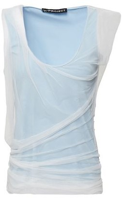 Y/Project Draped Gathered Tulle-layered Stretch Cotton-jersey Tank