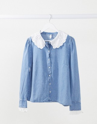 Neon Rose shirt with embroidered collar in denim mix