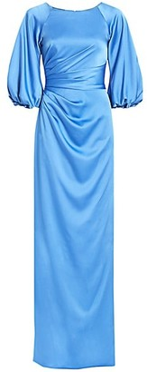 Theia Balloon-Sleeve Satin Gown