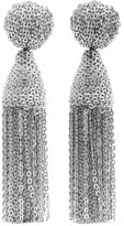 Oscar de la Renta Tasseled Silver-tone Clip Earrings