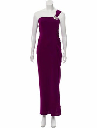 Oscar de la Renta Silk One-Shoulder Gown Violet