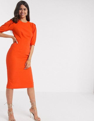 Closet London wiggle midi dress in orange