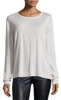 Halston Long-Sleeve Drape-Back Sweater, Dark Bone