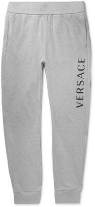 Versace Slim-Fit Tapered Logo-Print Melange Loopback Cotton-Jersey Sweatpants