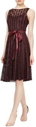 Slny Lace Satin Stripe Bow Belted Dress