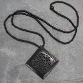 Ebony Wood Necklace Hand Carved Jewelry from India, 'Mughal Enchantress Diamond'