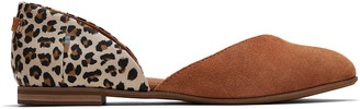 Toms Carmel Brown Suede Leopard Women's Julie D'Orsay Flats
