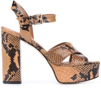 Paris Texas Snakeskin-Effect 130mm Block-Heel Sandals
