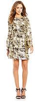 Gianni Bini Olivia Foil Bell Sleeve Dress