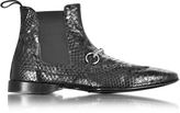 Cesare Paciotti Black Python Leather Low Boot