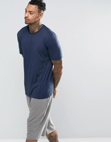 Asos Lightweight T-Shirt With Panelling In Navy