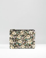 Asos Pretty Floral Embellished Zip Top Clutch Bag