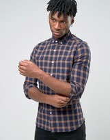 Asos Skinny Shirt With Grid Check In Navy With Long Sleeves