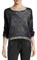 Blanc Noir Scoop-Neck Boyfriend Pullover Sweater, Black