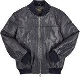 Nupkeet Leather Bomber Jacket-NAVY