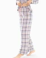Soma Intimates Cotton Blend Pajama Pants Peace And Joy Plaid Ivory