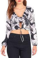 KENDALL + KYLIE Ruched Leaf Print Silk Top