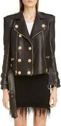 Balmain Lambskin Leather Moto Jacket