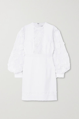 Andrew Gn Appliqued Chiffon, Lace And Crepe Mini Dress - White