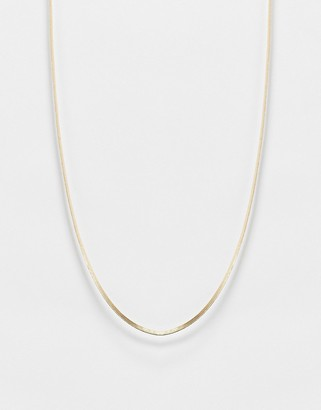 Pieces flat snake chain necklace in gold