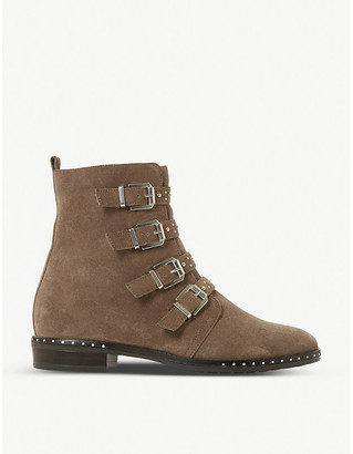 Dune Pixxel stud detail nubuck leather ankle boots