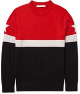 Givenchy Star-Appliquéd Colour-Block Wool-Blend Sweater