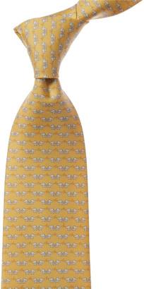 Salvatore Ferragamo Yellow Elephants Silk Tie