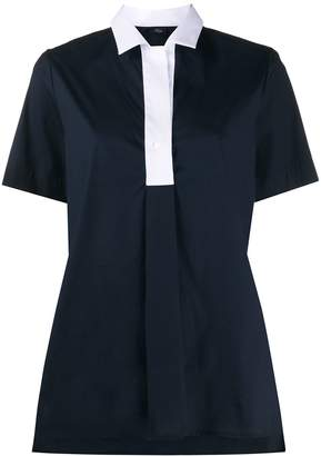 Fay contrast-collar A-line shirt