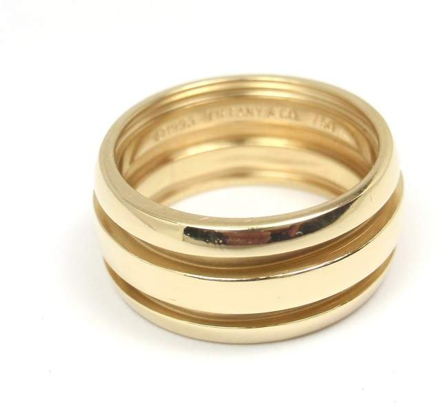 Tiffany & Co. Atlas Groove 18K Yellow Gold Wedding Band Ring Size 6