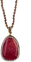 Natasha Accessories Long Beaded Medium Pave Pendant Necklace