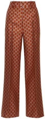 Gucci Gg Lame Light Wool Blend Flared Pants