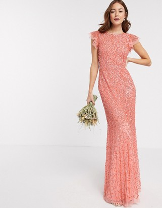 Maya Bridesmaid allover delicate sequin cap sleeve maxi dress in coral