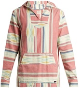 Faherty Baja striped cotton hooded poncho