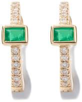 Jacquie Aiche Emerald Baguette-Center Huggies Earring
