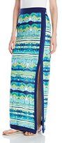Allison Brittney Women's All Over Print Maxi Skirt with Color Block Trim