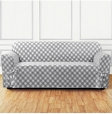 Sure Fit Buffalo Check One-Piece Straight Skirt with Cord Sofa Slipcover