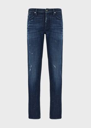 Emporio Armani J75 Slim-Fit, Ripped Denim Jeans