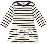 Petit Bateau Baby girls dress in striped velours