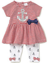 Starting Out Baby Girls 3-24 Months Sequin Anchor-Appliqued Striped Tunic & Printed Leggings Set